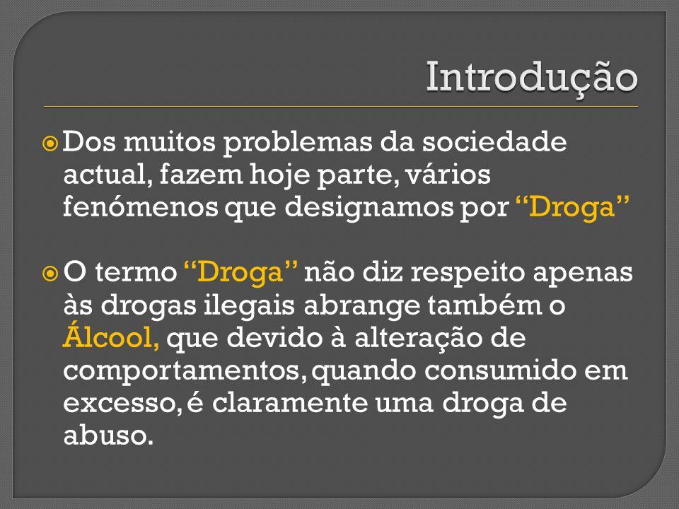 Dos muitos problemas da sociedade actual, fazem hoje parte, vários fenómenos que designamos por Droga O termo Droga não diz respeito apenas às drogas