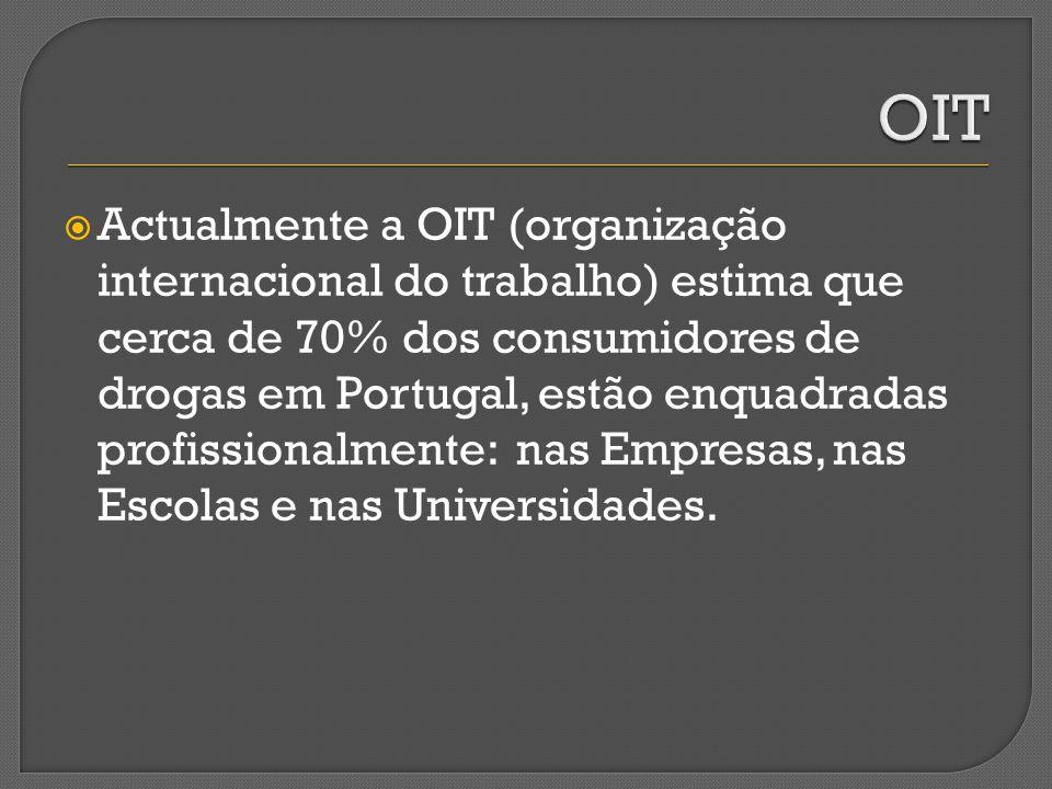 Actualmente a OIT (organização internacional do trabalho) estima que cerca de 70% dos consumidores de drogas em Portugal, estão enquadradas profission