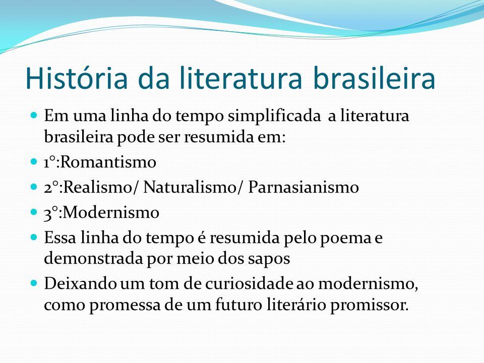 História da literatura brasileira Em uma linha do tempo simplificada a literatura brasileira pode ser resumida em: 1°:Romantismo 2°:Realismo/ Naturali