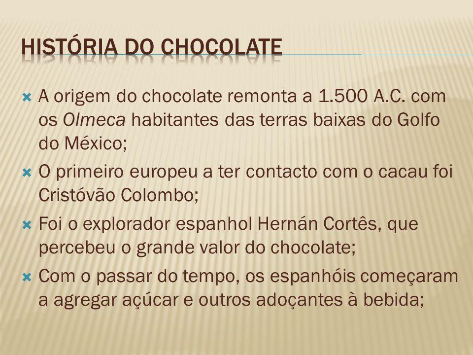 A origem do chocolate remonta a 1.500 A.C. com os Olmeca habitantes das terras baixas do Golfo do México; O primeiro europeu a ter contacto com o caca