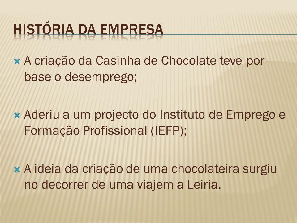 A criação da Casinha de Chocolate teve por base o desemprego; Aderiu a um projecto do Instituto de Emprego e Formação Profissional (IEFP); A ideia da