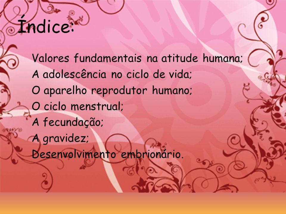Índice: Valores fundamentais na atitude humana; A adolescência no ciclo de vida; O aparelho reprodutor humano; O ciclo menstrual; A fecundação; A grav