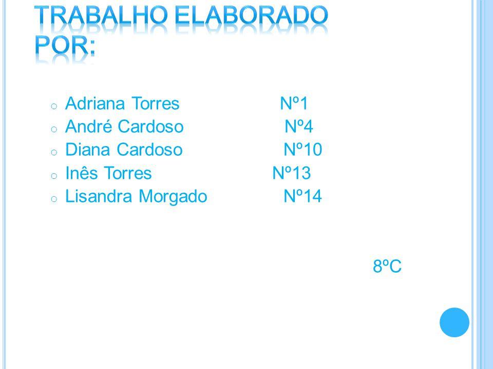o Adriana Torres Nº1 o André Cardoso Nº4 o Diana Cardoso Nº10 o Inês Torres Nº13 o Lisandra Morgado Nº14 8ºC