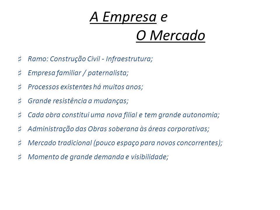 A Empresa e O Mercado Ramo: Construção Civil - Infraestrutura; Empresa familiar / paternalista; Processos existentes há muitos anos; Grande resistênci