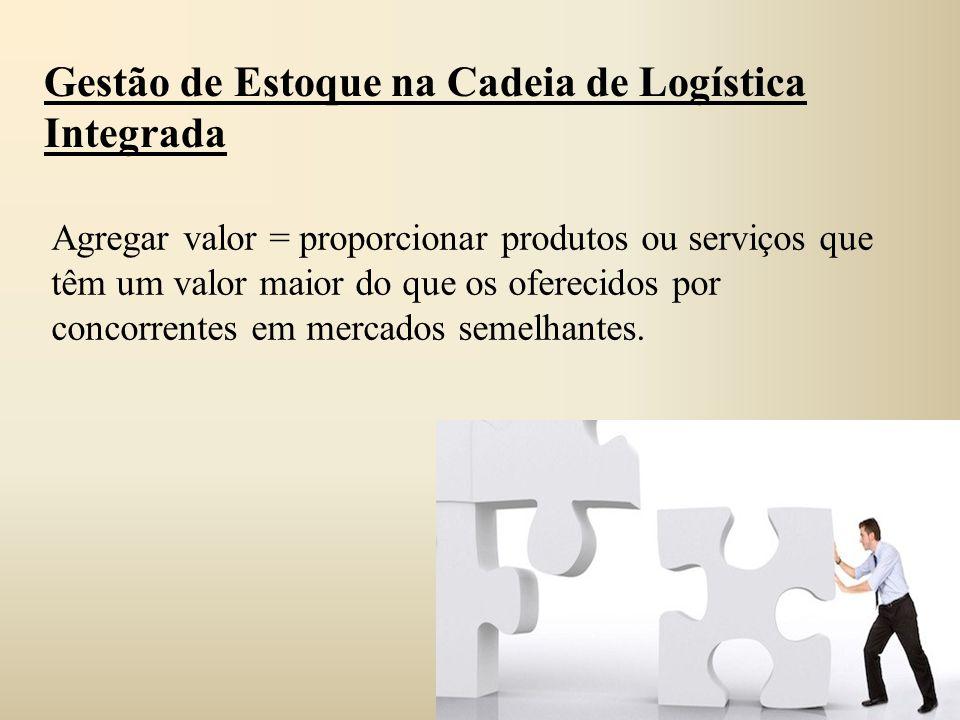 Gestão de Estoque na Cadeia de Logística Integrada Agregar valor = proporcionar produtos ou serviços que têm um valor maior do que os oferecidos por c
