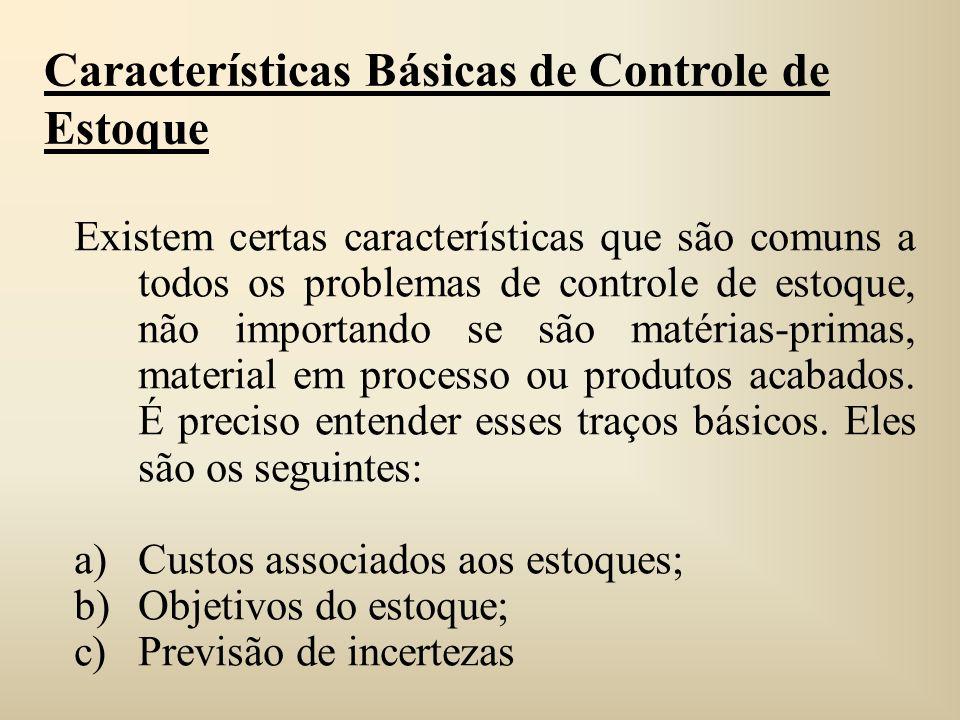 Características Básicas de Controle de Estoque Existem certas características que são comuns a todos os problemas de controle de estoque, não importan