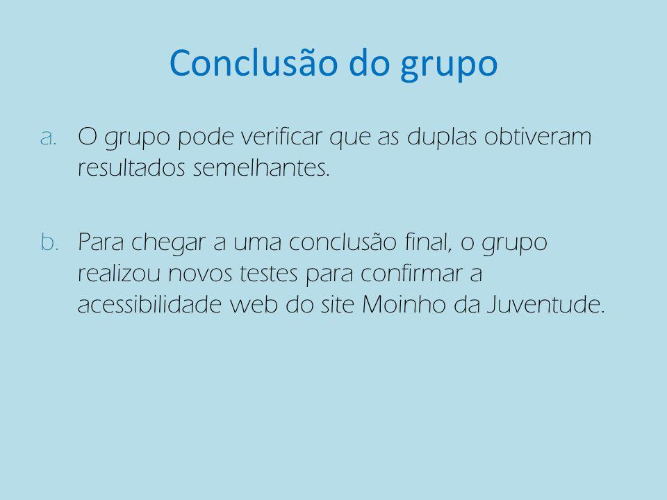 Conclusão do grupo a.O grupo pode verificar que as duplas obtiveram resultados semelhantes.