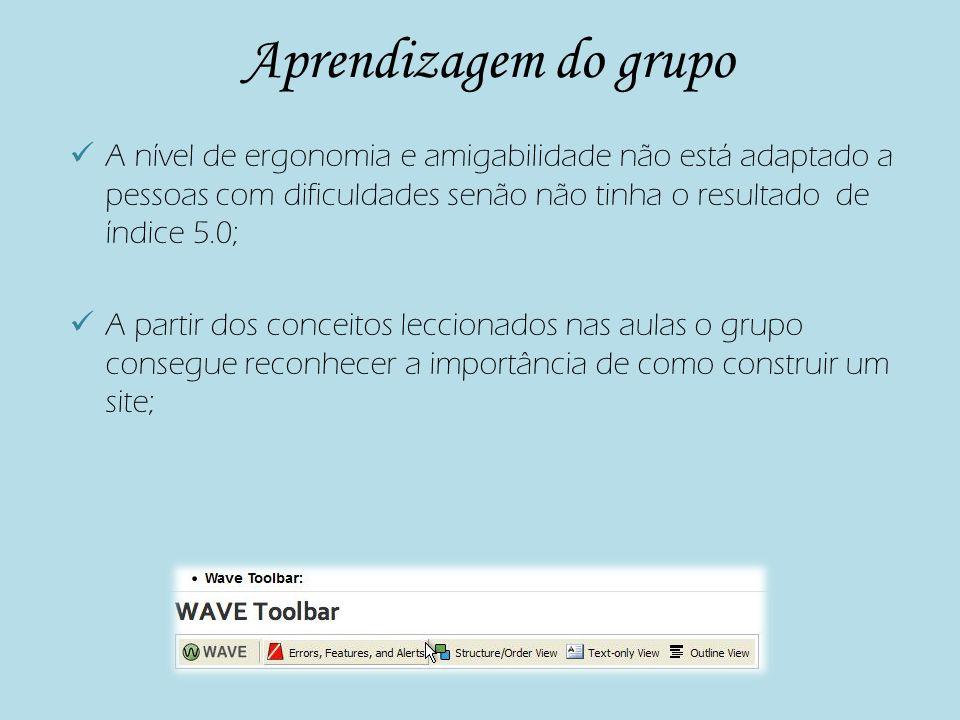 Cont… O grupo consegue avaliar a acessibilidade a um website utilizando ferramentas automáticas e manuais como por exemplo a tabulação do teclado.