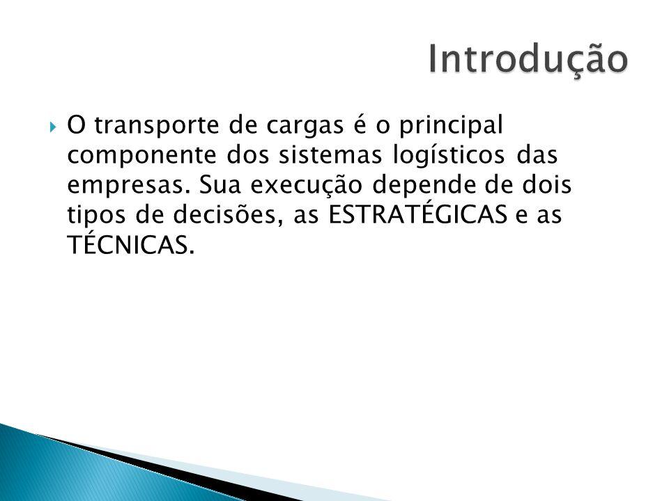 O transporte de cargas é o principal componente dos sistemas logísticos das empresas. Sua execução depende de dois tipos de decisões, as ESTRATÉGICAS
