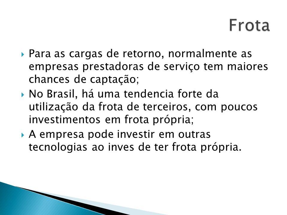 Para as cargas de retorno, normalmente as empresas prestadoras de serviço tem maiores chances de captação; No Brasil, há uma tendencia forte da utiliz