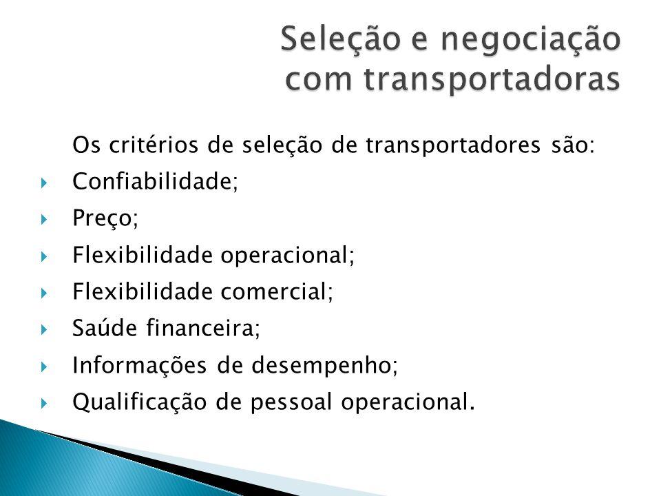 Os critérios de seleção de transportadores são: Confiabilidade; Preço; Flexibilidade operacional; Flexibilidade comercial; Saúde financeira; Informações de desempenho; Qualificação de pessoal operacional.