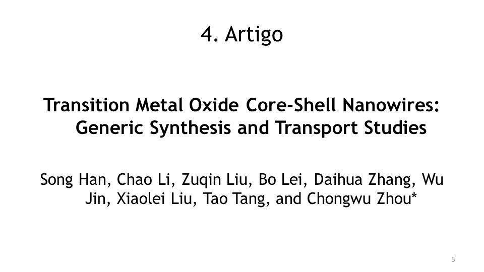 4. Artigo Transition Metal Oxide Core-Shell Nanowires: Generic Synthesis and Transport Studies Song Han, Chao Li, Zuqin Liu, Bo Lei, Daihua Zhang, Wu