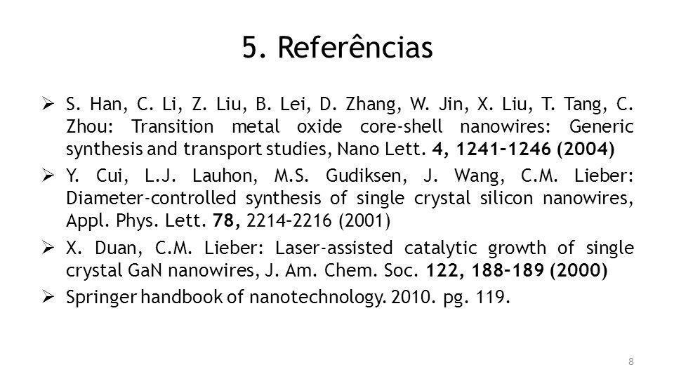 5. Referências S. Han, C. Li, Z. Liu, B. Lei, D. Zhang, W. Jin, X. Liu, T. Tang, C. Zhou: Transition metal oxide core-shell nanowires: Generic synthes