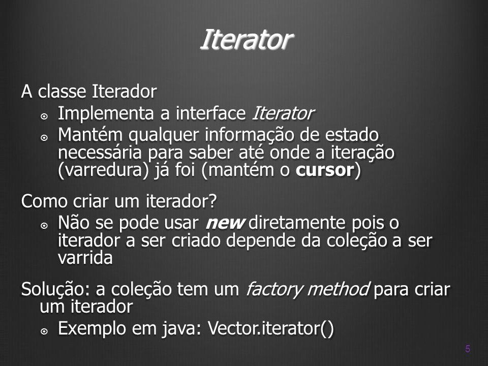 Iterator A classe Iterador Implementa a interface Iterator Implementa a interface Iterator Mantém qualquer informação de estado necessária para saber