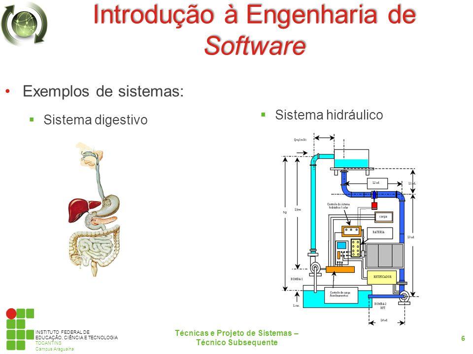 INSTITUTO FEDERAL DE EDUCAÇÃO, CIÊNCIA E TECNOLOGIA TOCANTINS Campus Araguaína Introdução à Engenharia de Software Software: Conjunto de procedimentos que controlam o funcionamento de uma máquina.