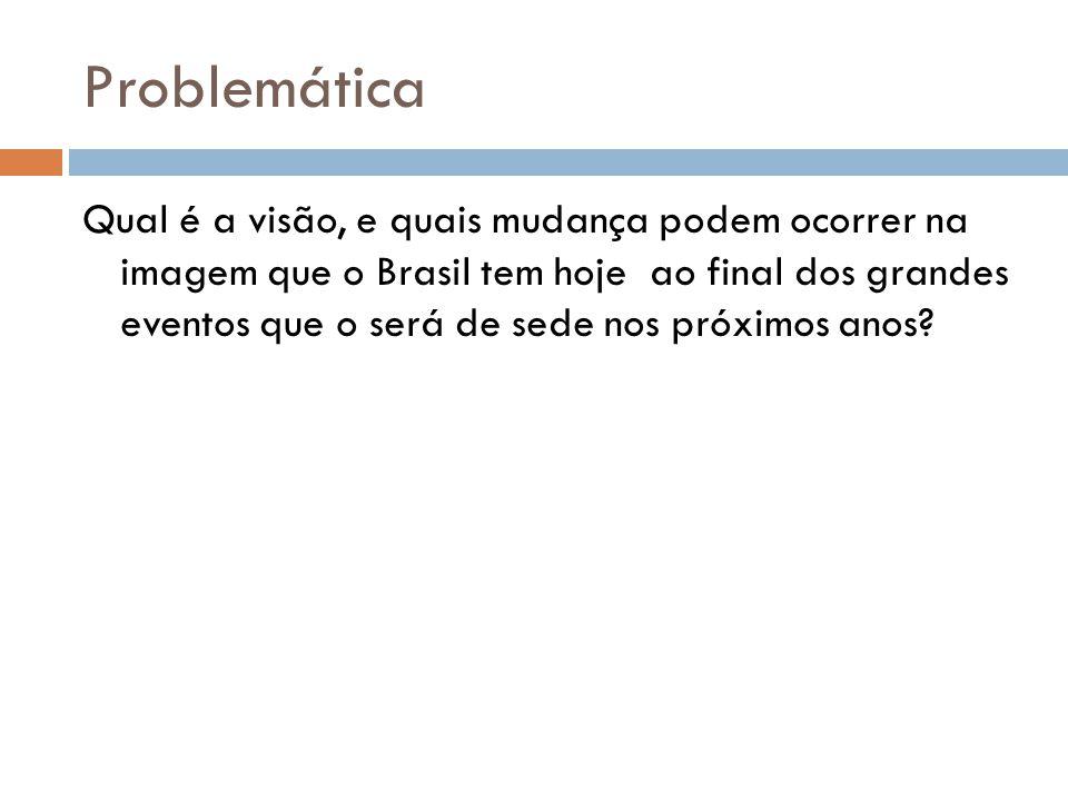 Problemática Qual é a visão, e quais mudança podem ocorrer na imagem que o Brasil tem hoje ao final dos grandes eventos que o será de sede nos próximos anos