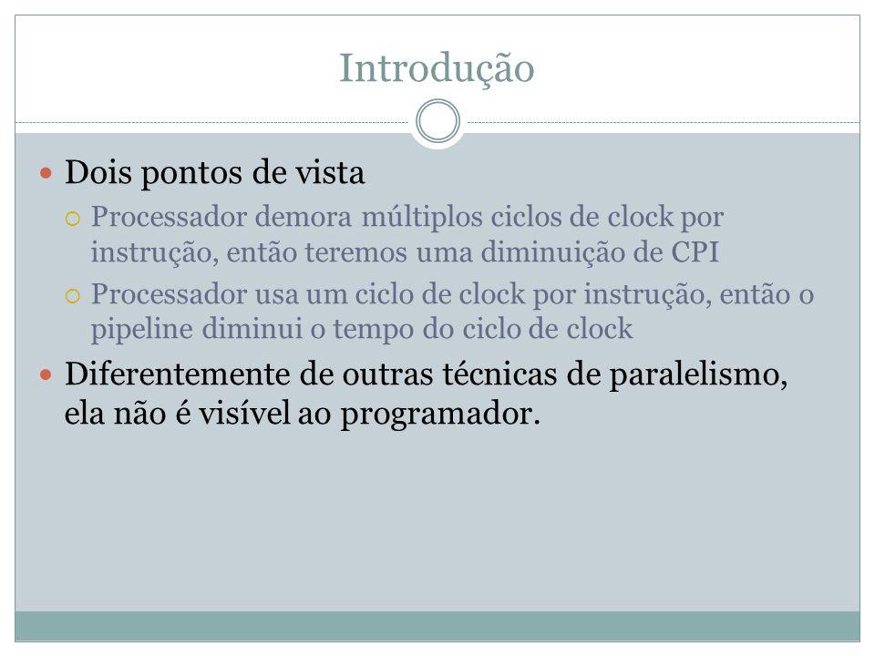 Introdução Exemplos: Numa função store, se lê o dado do registrador na fase ID, mas apenas o usa durante a fase MEM.