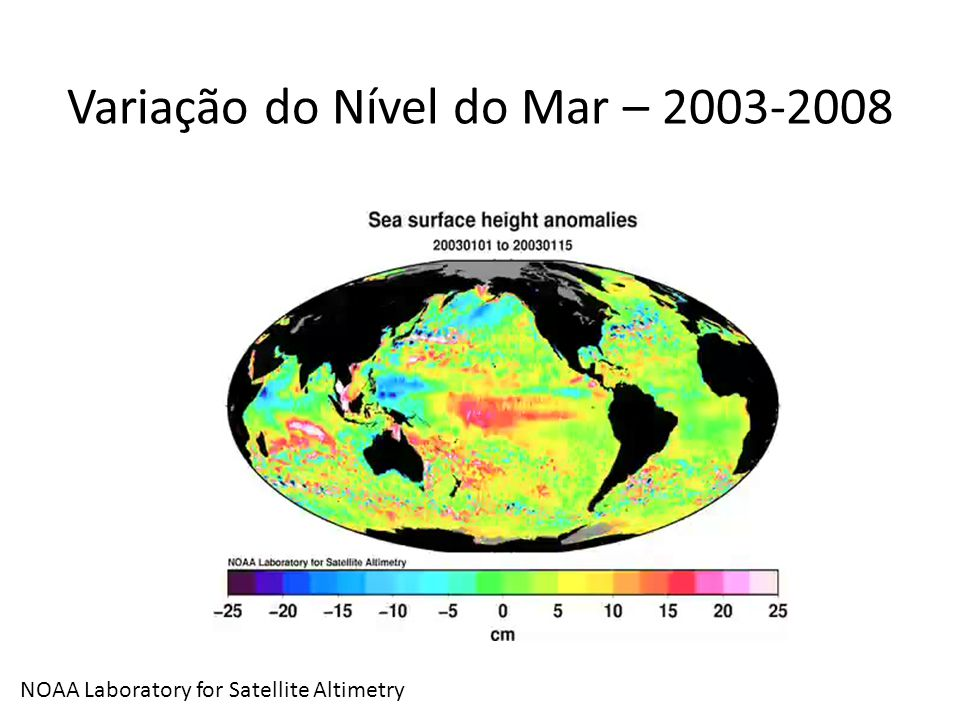 Variação do Nível do Mar – 2003-2008 NOAA Laboratory for Satellite Altimetry