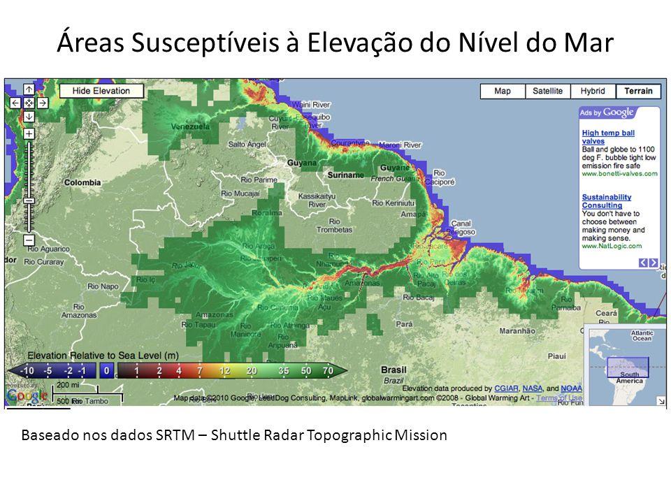 Áreas Susceptíveis à Elevação do Nível do Mar Baseado nos dados SRTM – Shuttle Radar Topographic Mission