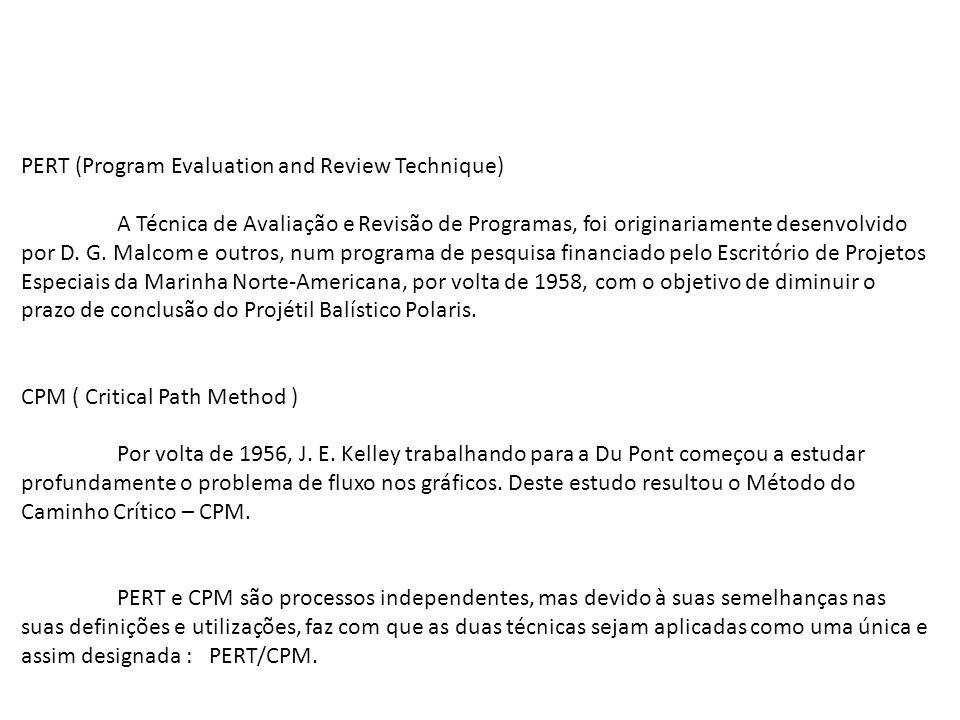 PERT (Program Evaluation and Review Technique) A Técnica de Avaliação e Revisão de Programas, foi originariamente desenvolvido por D. G. Malcom e outr