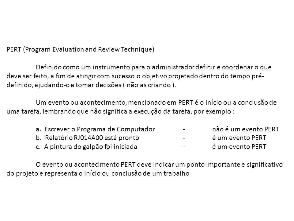 PERT (Program Evaluation and Review Technique) Definido como um instrumento para o administrador definir e coordenar o que deve ser feito, a fim de at