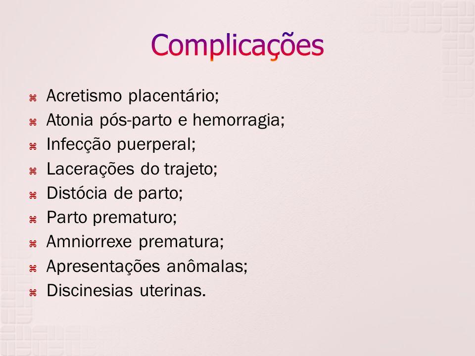 Acretismo placentário; Atonia pós-parto e hemorragia; Infecção puerperal; Lacerações do trajeto; Distócia de parto; Parto prematuro; Amniorrexe premat