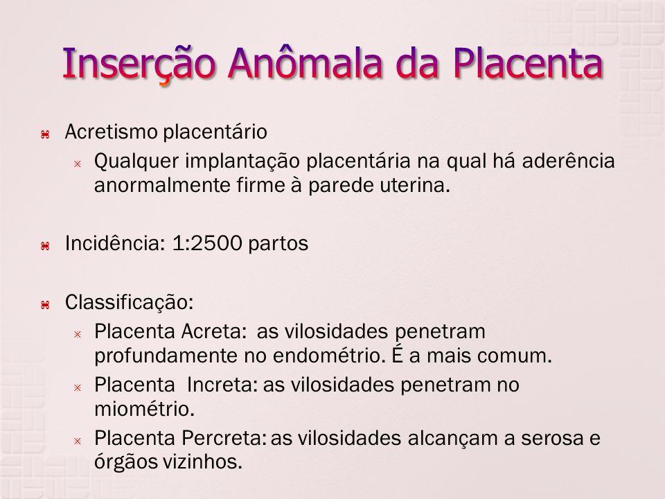Acretismo placentário Qualquer implantação placentária na qual há aderência anormalmente firme à parede uterina. Incidência: 1:2500 partos Classificaç
