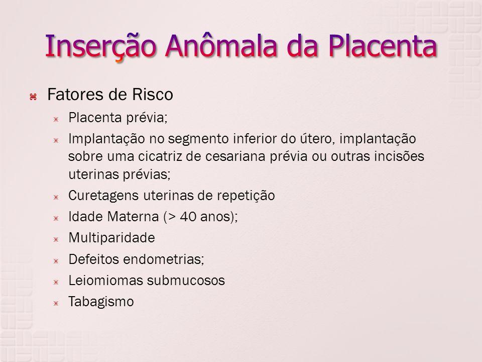 Fatores de Risco Placenta prévia; Implantação no segmento inferior do útero, implantação sobre uma cicatriz de cesariana prévia ou outras incisões ute