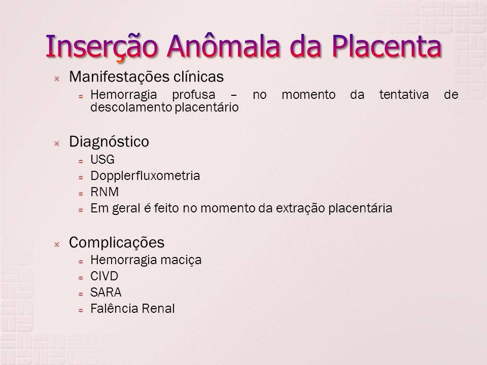 Manifestações clínicas Hemorragia profusa – no momento da tentativa de descolamento placentário Diagnóstico USG Dopplerfluxometria RNM Em geral é feit