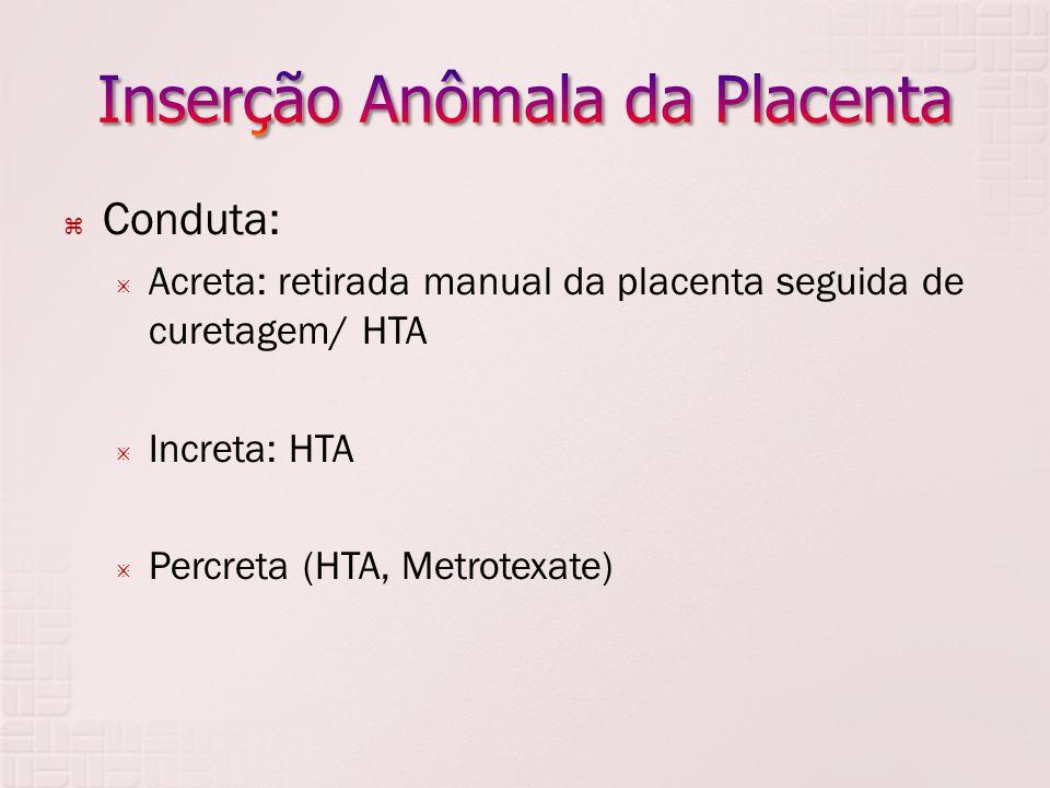 Conduta: Acreta: retirada manual da placenta seguida de curetagem/ HTA Increta: HTA Percreta (HTA, Metrotexate)