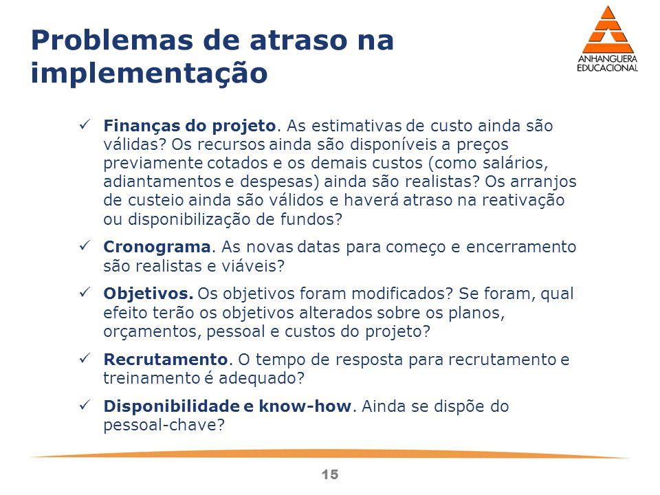 15 Problemas de atraso na implementação Finanças do projeto.