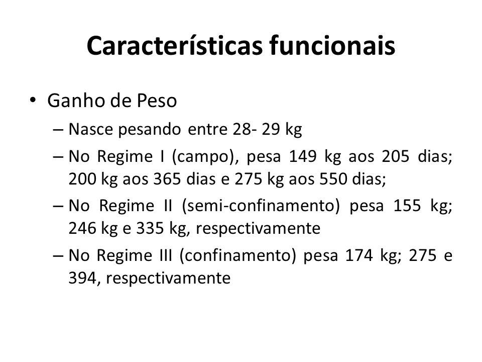 Características funcionais Ganho de Peso – Nasce pesando entre 28- 29 kg – No Regime I (campo), pesa 149 kg aos 205 dias; 200 kg aos 365 dias e 275 kg