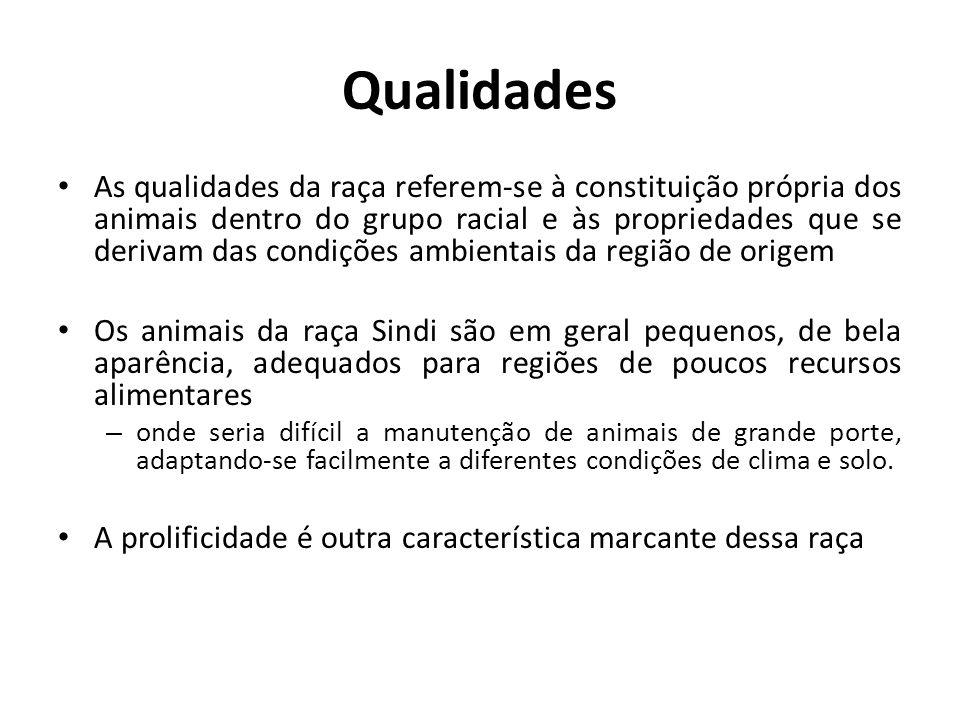Qualidades As qualidades da raça referem-se à constituição própria dos animais dentro do grupo racial e às propriedades que se derivam das condições a