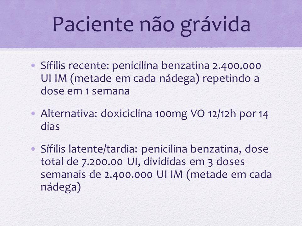 Paciente não grávida Sífilis recente: penicilina benzatina 2.400.000 UI IM (metade em cada nádega) repetindo a dose em 1 semana Alternativa: doxicicli