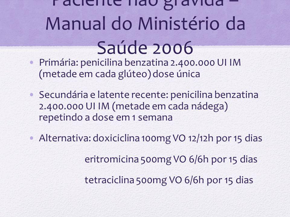 Paciente não grávida – Manual do Ministério da Saúde 2006 Primária: penicilina benzatina 2.400.000 UI IM (metade em cada glúteo) dose única Secundária