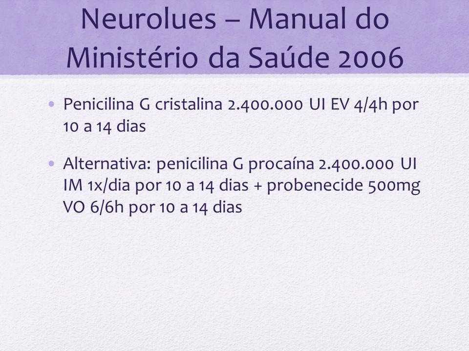 Neurolues – Manual do Ministério da Saúde 2006 Penicilina G cristalina 2.400.000 UI EV 4/4h por 10 a 14 dias Alternativa: penicilina G procaína 2.400.