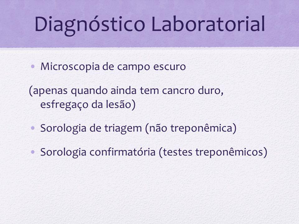 Diagnóstico Laboratorial Microscopia de campo escuro (apenas quando ainda tem cancro duro, esfregaço da lesão) Sorologia de triagem (não treponêmica)