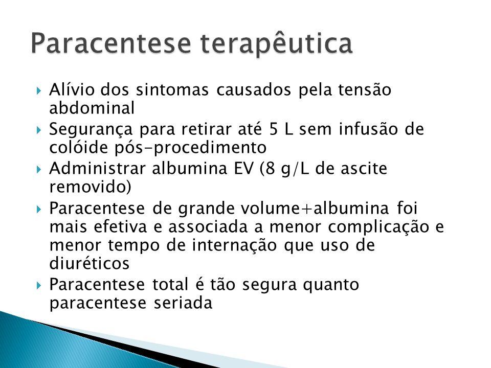 Alívio dos sintomas causados pela tensão abdominal Segurança para retirar até 5 L sem infusão de colóide pós-procedimento Administrar albumina EV (8 g