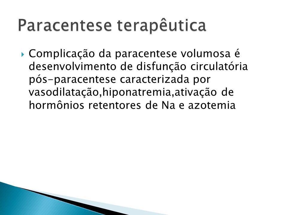 Complicação da paracentese volumosa é desenvolvimento de disfunção circulatória pós-paracentese caracterizada por vasodilatação,hiponatremia,ativação