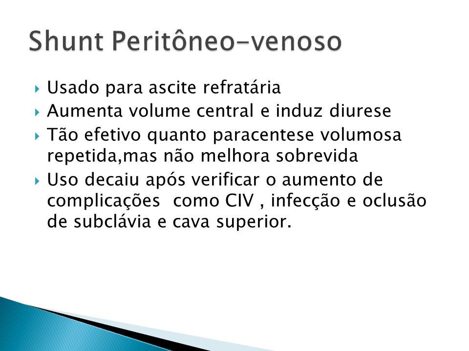 Usado para ascite refratária Aumenta volume central e induz diurese Tão efetivo quanto paracentese volumosa repetida,mas não melhora sobrevida Uso dec