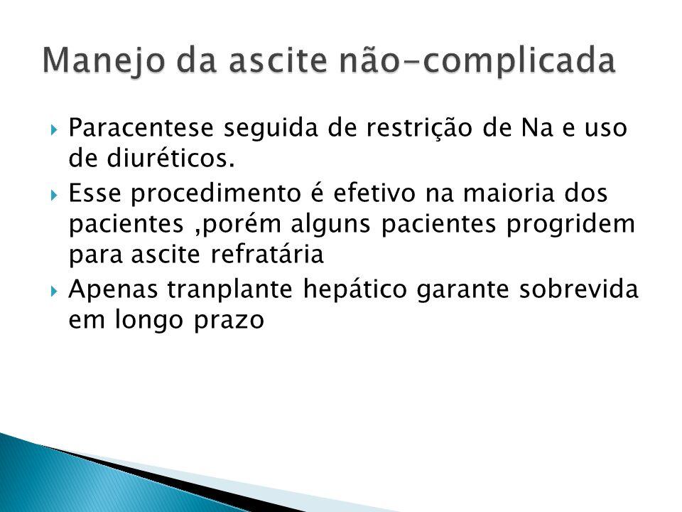 Paracentese seguida de restrição de Na e uso de diuréticos. Esse procedimento é efetivo na maioria dos pacientes,porém alguns pacientes progridem para