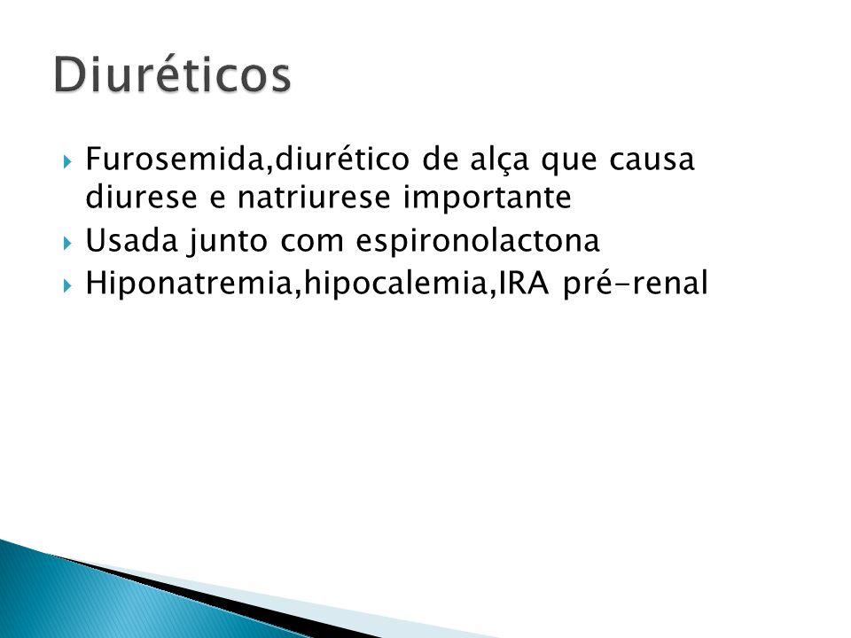 Furosemida 40 mg e espironolactona 100 mg diario é geralmente a dose inicial Leva de 3 a 5 dias para o efeito máximo Podem ser aumentados até a dose máxima de 400/160mg por dia Restrição Na sempre implementada junto