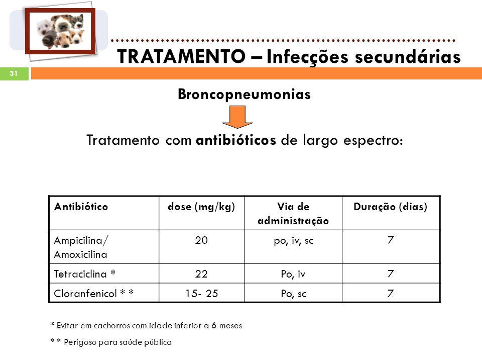 31 TRATAMENTO – Infecções secundárias Broncopneumonias Tratamento com antibióticos de largo espectro: Antibióticodose (mg/kg)Via de administração Duração (dias) Ampicilina/ Amoxicilina 20po, iv, sc7 Tetraciclina *22Po, iv7 Cloranfenicol * *15- 25Po, sc7 * Evitar em cachorros com idade inferior a 6 meses * * Perigoso para saúde pública