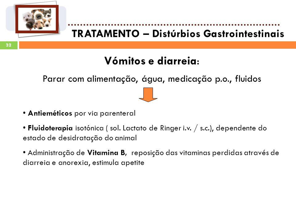32 TRATAMENTO – Distúrbios Gastrointestinais Vómitos e diarreia: Parar com alimentação, água, medicação p.o., fluidos Antieméticos por via parenteral Fluidoterapia isotónica ( sol.