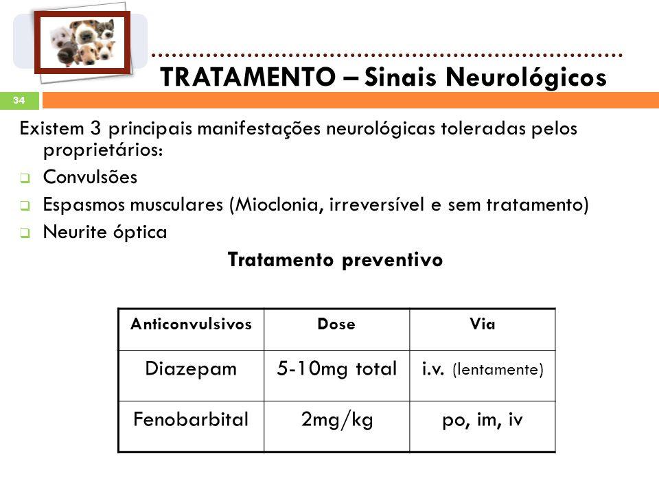 34 TRATAMENTO – Sinais Neurológicos Existem 3 principais manifestações neurológicas toleradas pelos proprietários: Convulsões Espasmos musculares (Mioclonia, irreversível e sem tratamento) Neurite óptica Tratamento preventivo AnticonvulsivosDoseVia Diazepam5-10mg totali.v.