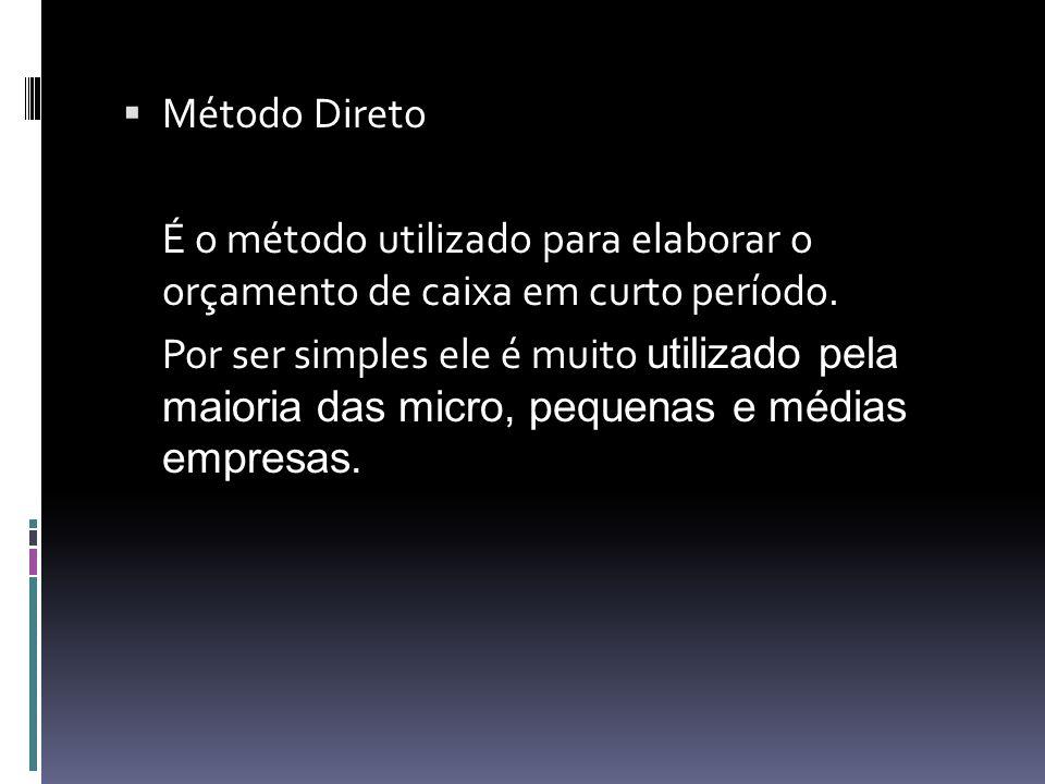 Método Direto É o método utilizado para elaborar o orçamento de caixa em curto período. Por ser simples ele é muito utilizado pela maioria das micro,
