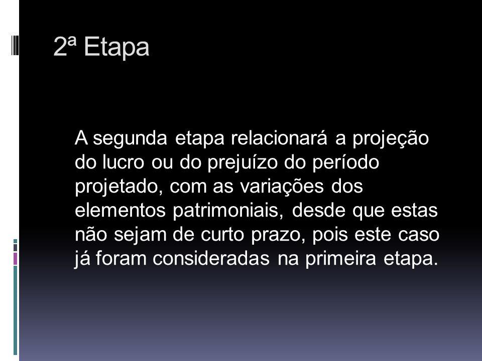 2ª Etapa A segunda etapa relacionará a projeção do lucro ou do prejuízo do período projetado, com as variações dos elementos patrimoniais, desde que e