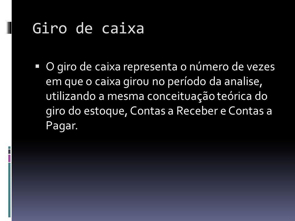 Giro de caixa O giro de caixa representa o número de vezes em que o caixa girou no período da analise, utilizando a mesma conceituação teórica do giro
