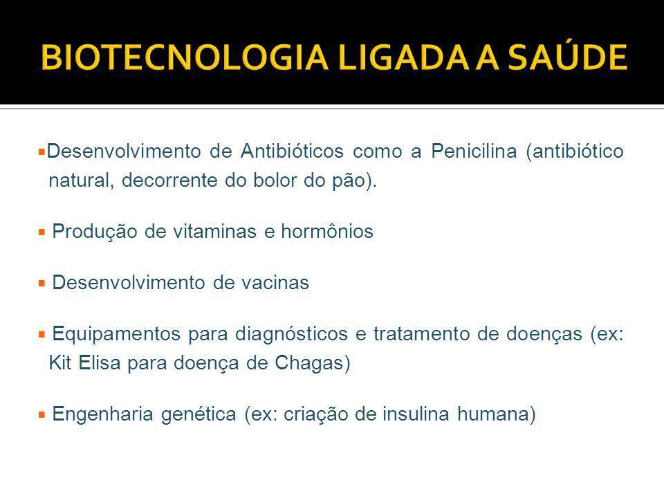 Desenvolvimento de Antibióticos como a Penicilina (antibiótico natural, decorrente do bolor do pão). Produção de vitaminas e hormônios Desenvolvimento