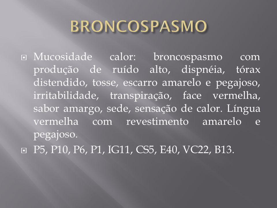 Mucosidade calor: broncospasmo com produção de ruído alto, dispnéia, tórax distendido, tosse, escarro amarelo e pegajoso, irritabilidade, transpiração